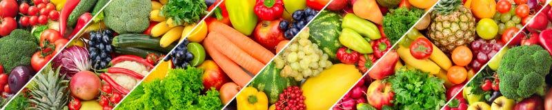 Panorama- collage av nya frukter och grönsaker royaltyfri fotografi