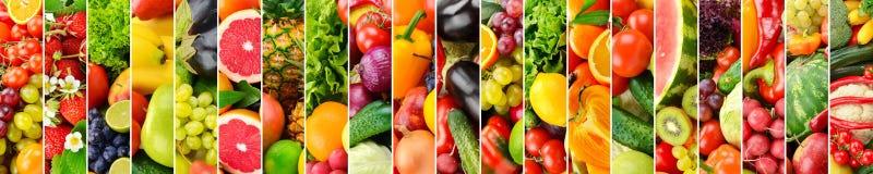 Panorama- collage med frukter och grönsaker görar randig vertical royaltyfria foton