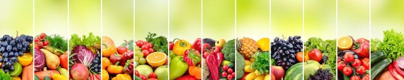 Panorama- collagegrönsaker och frukter på suddig grön backgro royaltyfria bilder