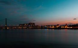 Panorama Cologne crane house Kranhaus and Bridge royalty free stock photography
