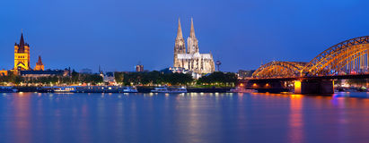 Panorama of Cologne at night Stock Photos