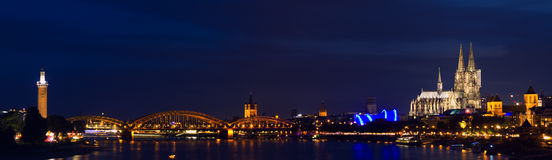 Panorama of Cologne at twilight Royalty Free Stock Photo
