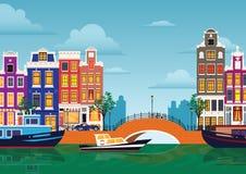 Panorama coloré multicolore Hollande d'Amsterdam de ville de ville de bâtiments historiques de bande dessinée plate Images stock