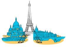 Panorama coloreado Francia de París libre illustration