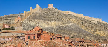 Panorama of colorful Albarracin and the surrounding walls Royalty Free Stock Images