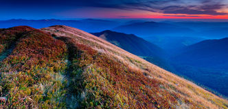 Panorama of colorful autumn landscape Royalty Free Stock Photography