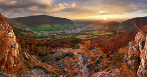 Panorama of Colorful autumn landscape in the mountain village. F Stock Photography