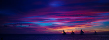 Panorama of Colorful beautiful sunset with Stock Photo