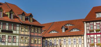 Panorama of colorful half-timbered houses at the market square o. F Wernigerode, Germany royalty free stock photo