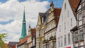Panorama of colorful historic facades in the center of Hameln royalty free stock images