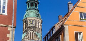 Panorama of colorful houses and church tower in Hannover Stock Image