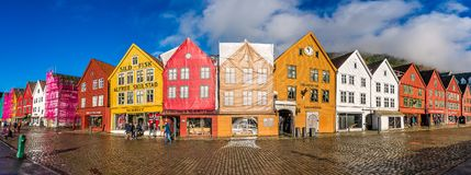 Colorful houses in the historic Bryggen in Bergen royalty free stock image