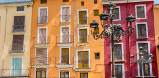 Panorama of colorful houses and street light at the market squar Stock Photos