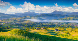 Panorama of the colorful summer morning in mountain village. Royalty Free Stock Image