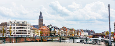 Panorama with colorful traditional houses along canal in Ghent, Belgium Stock Photo