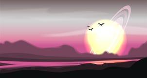 Panorama colorido fantástico, paisagem do vetor da fantasia Ilustração do planeta da fantasia Fundo da ficção científica do vetor ilustração royalty free