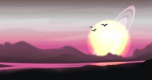 Panorama colorido fantástico, paisagem do vetor da fantasia Ilustração do planeta da fantasia Fundo da ficção científica do vetor ilustração do vetor