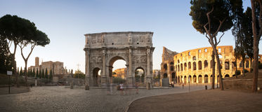 Panorama of the Colosseum and Arch of Constantine. Panorama of the Coliseum and Arch of Constantine at sunset, International landmark, Rome, Italy, Europe Royalty Free Stock Images