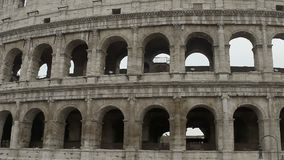 Panorama of Colosseum exterior, grey antique ruins of amphitheater columns. Stock footage stock video