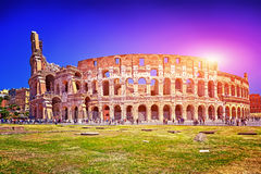 Panorama Colosseum in Rome and blue sky, Italy. Stock Image
