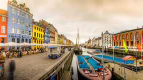 Panorama of colourful buildings at Nyhavn Stock Photo