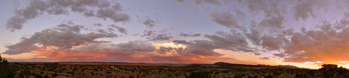 Panorama of Colourful Sunset Galisteo New Mexico Stock Images
