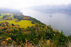 Panorama on Columbia River in Columbia Gorge in fog Stock Photography