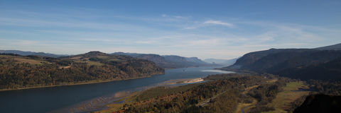 Panorama of Columbia river gorge in the Pacific Northwest Stock Images