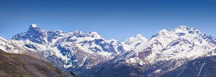Panorama of the Coluoir Bujon mountain range Stock Photos