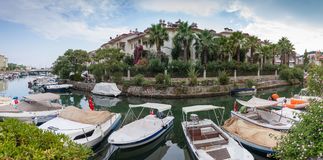 Panorama com barcos Fotos de Stock Royalty Free