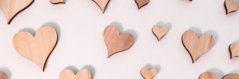 Panorama com corações feitos sob medida diferentes Imagens de Stock