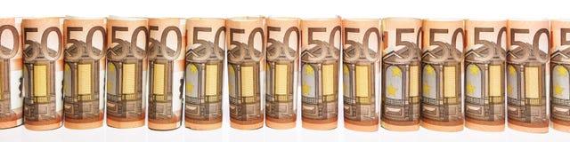 Panorama com 50 euro- notas Fotografia de Stock Royalty Free