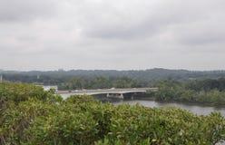 Panorama com a ponte chave de Washington District de Colômbia EUA Imagem de Stock