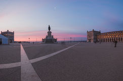 Panorama of Commerce Square in Lisbon at sunrise. Portugal Stock Photos