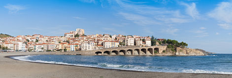 Panorama of the commune Banyuls-sur-Mer, France Royalty Free Stock Photography