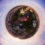 Panorama completo da vista aérea 360 graus do Andrew da cidade de Kiev, do ` s de St Andrew de descida do ` s da igreja, e da par Imagem de Stock
