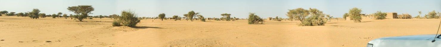Panorama composito del deserto sudanese con alcuni piccoli alberi e cespugli rappresentativi e di una casa del fango nella distan fotografia stock
