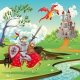 Panorama con el castillo medieval. ilustración del vector