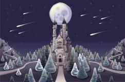 Panorama con el castillo medieval en la noche ilustración del vector