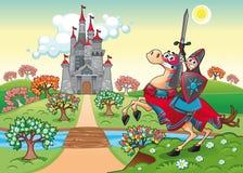 Panorama con el castillo y el caballero medievales. stock de ilustración