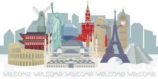 Panorama con i punti di riferimento architettonici del mondo illustrazione vettoriale