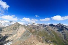 Panorama con il lago Eissee, la montagna Weissspitze ed il ghiacciaio Grossvenediger, alpi di Hohe Tauern, Austria Fotografia Stock Libera da Diritti