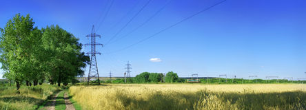Panorama con la ferrovia Fotografia Stock Libera da Diritti