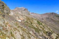 Panorama con la montagna Kristallwand, alpi di Hohe Tauern, Austria Immagine Stock