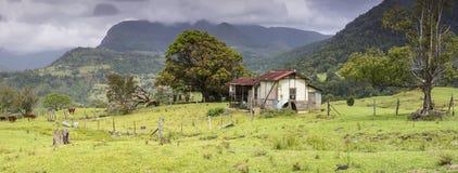 Panorama con la tettoia abbandonata della mucca Immagini Stock