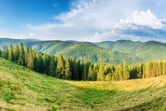 Panorama con las montañas verdes Imagen de archivo