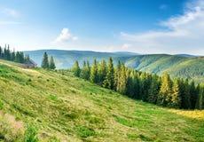 Panorama con las montañas verdes Fotos de archivo libres de regalías