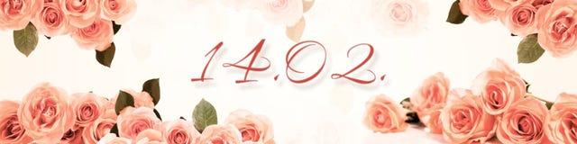 Panorama con las rosas y la fecha 14 02 Fotografía de archivo libre de regalías