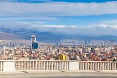 Panorama con le costruzioni moderne Città di Smirne, Turchia Immagini Stock Libere da Diritti