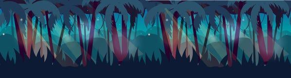 Panorama con paisaje de la selva tropical de la selva Ilustración del vector para su agua dulce de design ilustración del vector